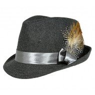 Fedora Hat - Wool-felt w/ Satin Ribbon Bow & Feather - Dark Gray
