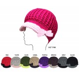 Cap - 2-Tone Cable Knit Cap w/ Bow