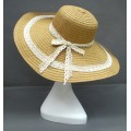 Wide Brim Hat -Straw Hat- Paper Straw Hat w/ Lace Band - Natural - HT-ST1151NA