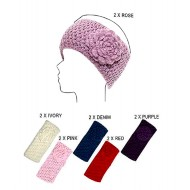 Headwraps / Neck Warmer : Crochet w/ Flower - Black Color - HB-0118HH