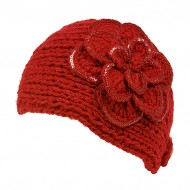Headwraps / Neck Warmer : Crochet w/ Sequined Trim - Red Color - HB-35-RD