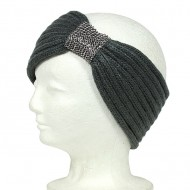 Knitted Headband w/ Rhinestoned Ring - Pewter Color - HB-HW12PT
