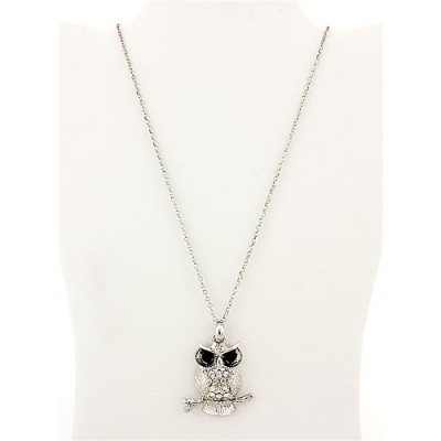 "Rhinestone Necklace - Owl Charm - 14"" - Clear"