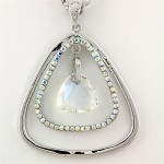 Geometry Necklaces - Dual Open Triangle w/ Dangling Crystal - AB 14""