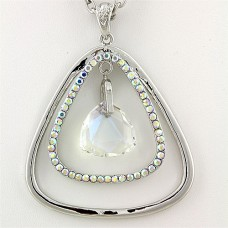 """Geometry Necklaces - Dual Open Triangle w/ Dangling Crystal - AB 14"""""""