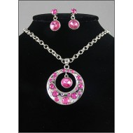 Gift set: Swarovski Crystal Round Charm Necklace & Earring Set - Rhodium Plating - Pink