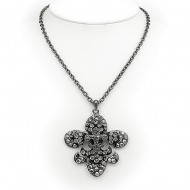 Fleur De Lis Charm Necklace - 3-Layer Paved Rhinestone - Hematite - NE-12252HE