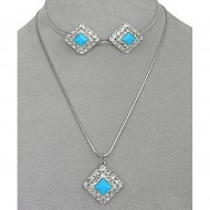 Crystal Square Charm w/ TQ Stone Necklace & Earring Set - NE-41202STQ