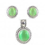 Cat Eye Oval Charm w/ Earrings Set - Emerald - NE-MCE1305ASE