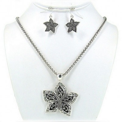 Western Style - Casting Rhinestone Necklace & Earrings Set w/ Flower Charm - NE-OS01540ASCRY