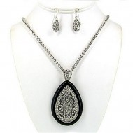 Filigree Tear Drop Charm Necklace & Earrings Set w/ Clear Rhinestones - NE-OS01638ASJET