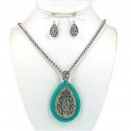 Filigree Tear Drop Charm Necklace & Earrings Set w/ Clear Rhinestones - NE-OS01638ASTQS
