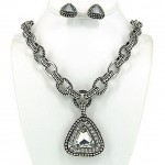 JHD Group - Casting Rhinestone Necklace & Earrings Set w/ Paved Triangle Charm - NE-OS01723RDCRY