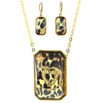 Necklace - Gold tone Chain Faceted Glass w/Leopard Print + Embedded Rhinestone Heart Charm NE + ER - NE-ACQN4735
