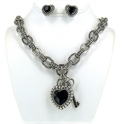 Necklace - Casting Rhinestone Necklace & Earrings Set w/ Paved Heart Charm - NE-OS01725RDJET