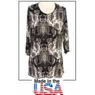 Merrow Top with 3/4 Sleeve, Paisley Print – Black & White - ATP-MT9501