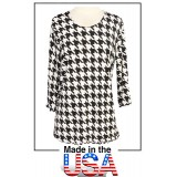 Merrow Top with 3/4 Sleeve, Houndstooth Print – Black & White - ATP-MT9504