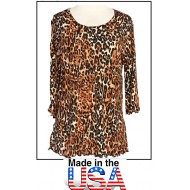 Merrow Top with 3/4 Sleeve, Leopard Print - Brown