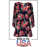 Merrow Top with 3/4 Sleeve, Roses – Navy Blue- ATP-MT9511