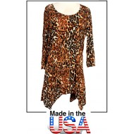 Tunics Tops with 3/4 Sleeves, Leopard Print - Brown
