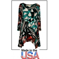 Tunics Tops with 3/4 Sleeves, Abstract Print – Multi