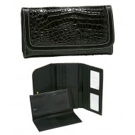Croc Embossed Check Book Wallets - Black
