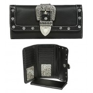 Wallet - Belt Buckle Wallet w/ Check Book Cover - Black - WL-WBLT141BK