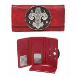 Wallet - Fleur de Lis Charm Wallet - Red - WL-WFDL140RD