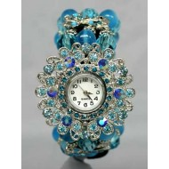 Bracelet Watch - Rhinestones w/ Multi Beaded Stretchable Bracelet - Blue