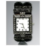 Bracelet Watch - Rhinestones w/ Multi Beaded Stretchable Bracelet - Black - WT-KH11486BK