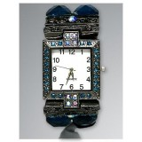 Bracelet Watch - Rhinestones w/ Multi Beaded Stretchable Bracelet - Blue - WT-KH11486BL