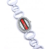 Lady Watch - Metal Link Strap w/ Red & Green Striped Design - White - WT-L3070WT