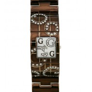 Lady Watch - Metal Wide Band w/ Rhinestone Letter - Brown - WT-L80021BN