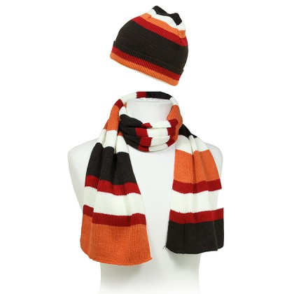 Hat & Scarf Set - Knitted Stripes Set - HTSF-TO102-2