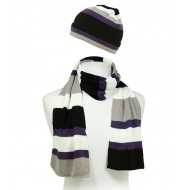 Hat & Scarf Set - Knitted Stripes Set - HTSF-TO102-4