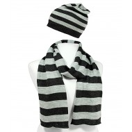 Hat & Scarf Set - Knitted Stripes Set - HTSF-TO103BKGY
