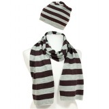 Hat & Scarf Set - Knitted Stripes Set - HTSF-TO103BNGY