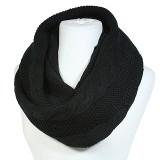 Scarf - Infinity Cable Knitted Scarf - Black - SF-0118S-BK
