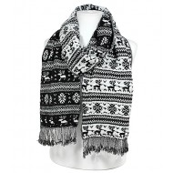 Scarf - Knitted  Reversible Nordic Print w/ Fringes - Black - SF-BL1171BK
