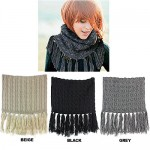 Scarf - Double Layer Cable Knitted With Fringes Neck Warmer