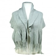 Scarf - Knitted W/ Fringe - Gray