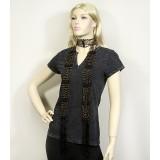 Scarf - Beaded Crochet Sash - Black - SF-SFS119001