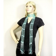Scarf - Beaded Crochet Sash - Blue Color - SF-SFS119004