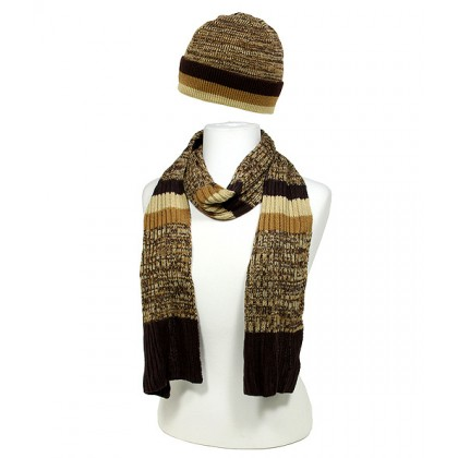 Hat & Scarf Set - Cashmere Feel Knitted Muffler Set -  Brown Color - SFHT-MFL1221.02