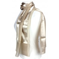 Scarf - Satin Solid - Stripes -Beige