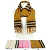 Scarf - Cashmere Wool Scarf w/Stripes - SF-CW0504
