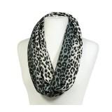Scarf - Infinity Loop Leopard Print - Gray