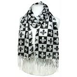 Scarf - Fleur De Lis In Checkers Print - Black Color -(S1072) - SF-SHL1606BK