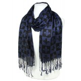 Scarf - Fleur De Lis In Checkers Print - Dark Blue  Color -(S1072) - SF-SHL1606DBL