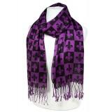 Scarf - Fleur De Lis In Checkers Print - Dark Purple Color -(S1072) - SF-SHL1606DPL